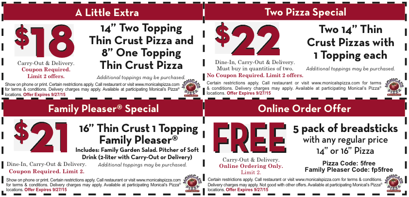 ... Pizza & 8 Inch 1-Topping Thin Crust Pizza + More (exp: 9/27/2015