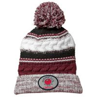 maroon, white and black knit pom hat
