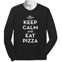 Keep Calm and Eat Pizza Long Sleeve Black T-Shirt