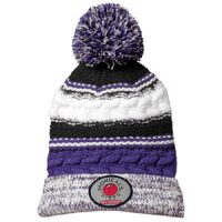 purple knit pom hat